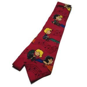 VTG Neck Tie Authentic Peanuts Linus Lucy Piano Mu